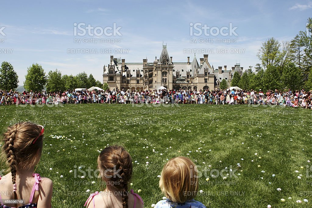 Waiting for Easter Egg Hunt at Biltmore Estate, USA stock photo