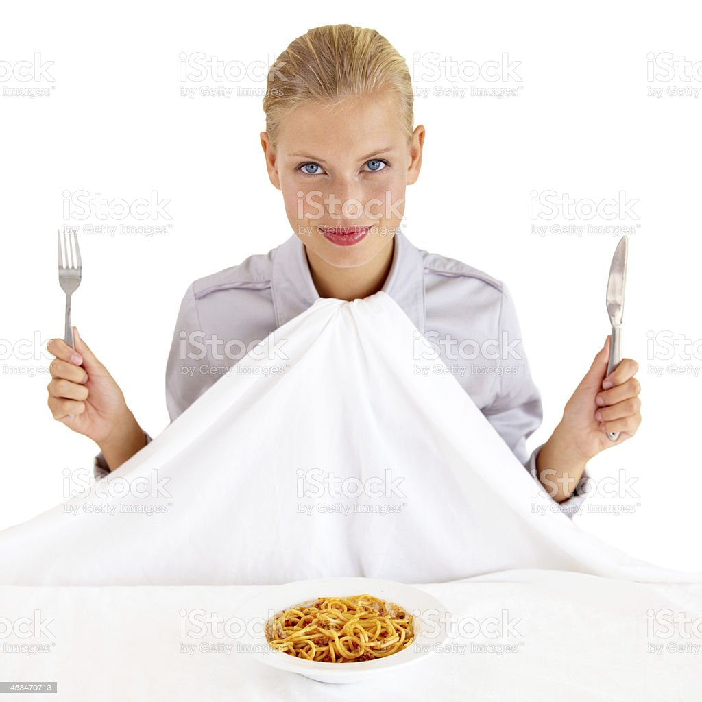 Waiting for everyone before digging in... stock photo