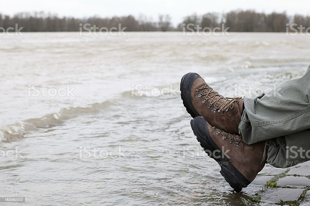 Waiting for flood stock photo