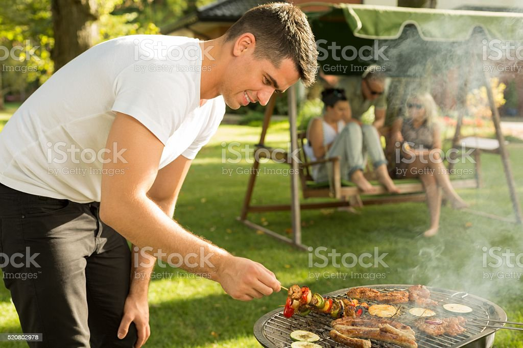 Waiting for grilled food stock photo