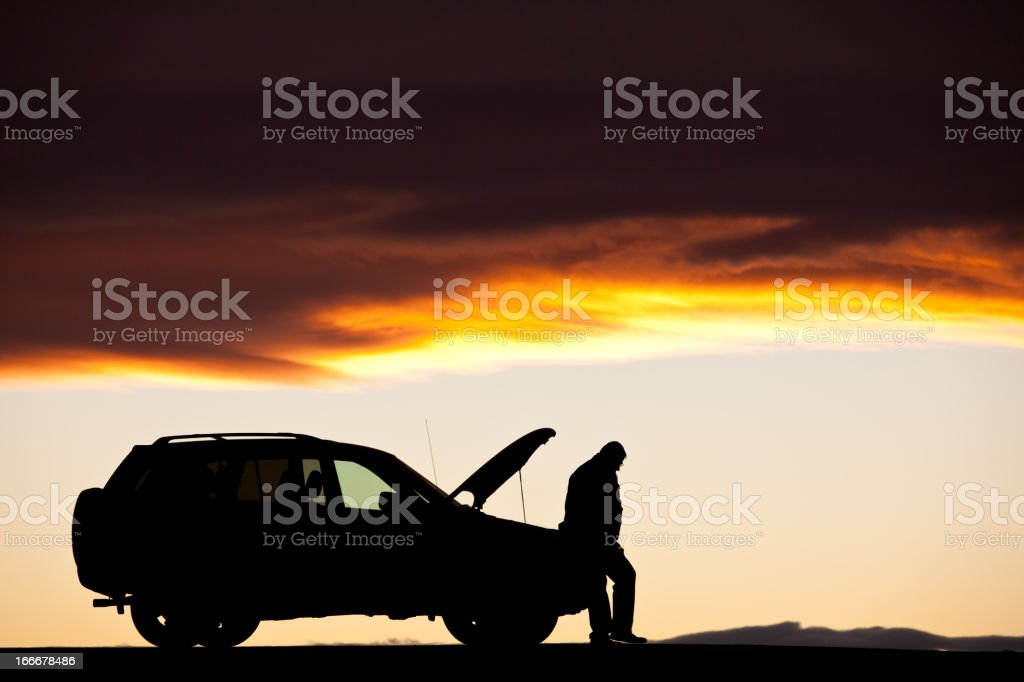 Waiting for Help By Broken Down Vehicle stock photo