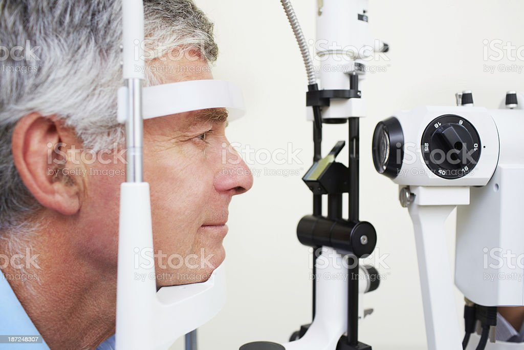Waiting for his eye exam royalty-free stock photo