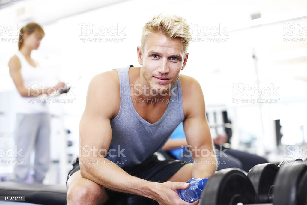 Waiting for his fitness results royalty-free stock photo