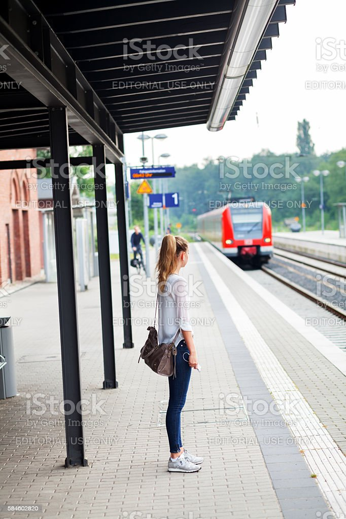 Waiting for incoming S-Bahn stock photo