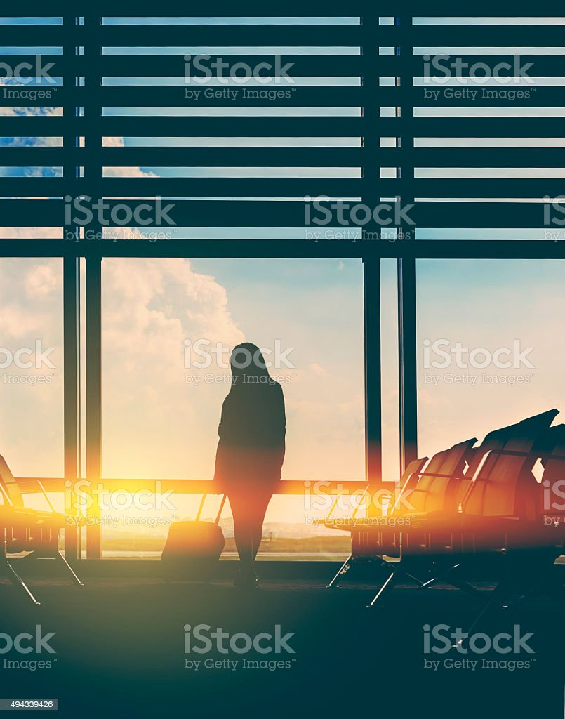 waiting for my flight in the airport stock photo