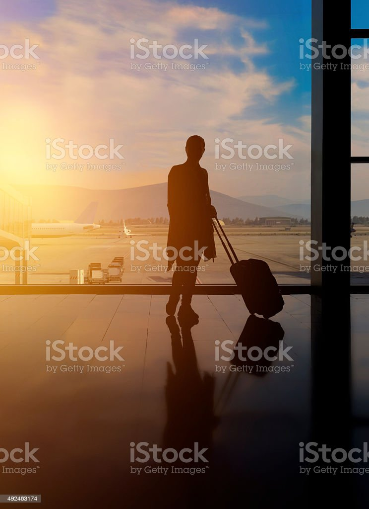 waiting for my flight stock photo