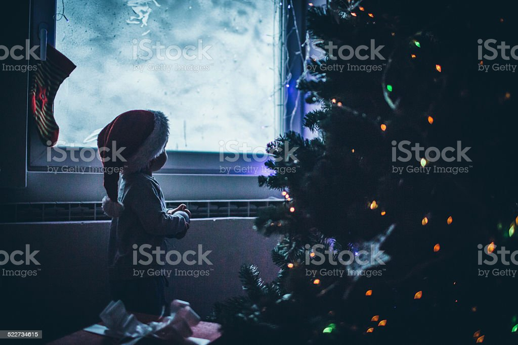 Waiting for Santa Clause stock photo