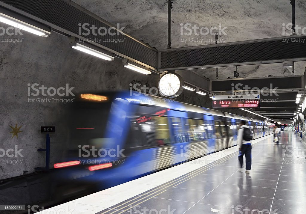 Waiting for subway train in Stockholm subway royalty-free stock photo