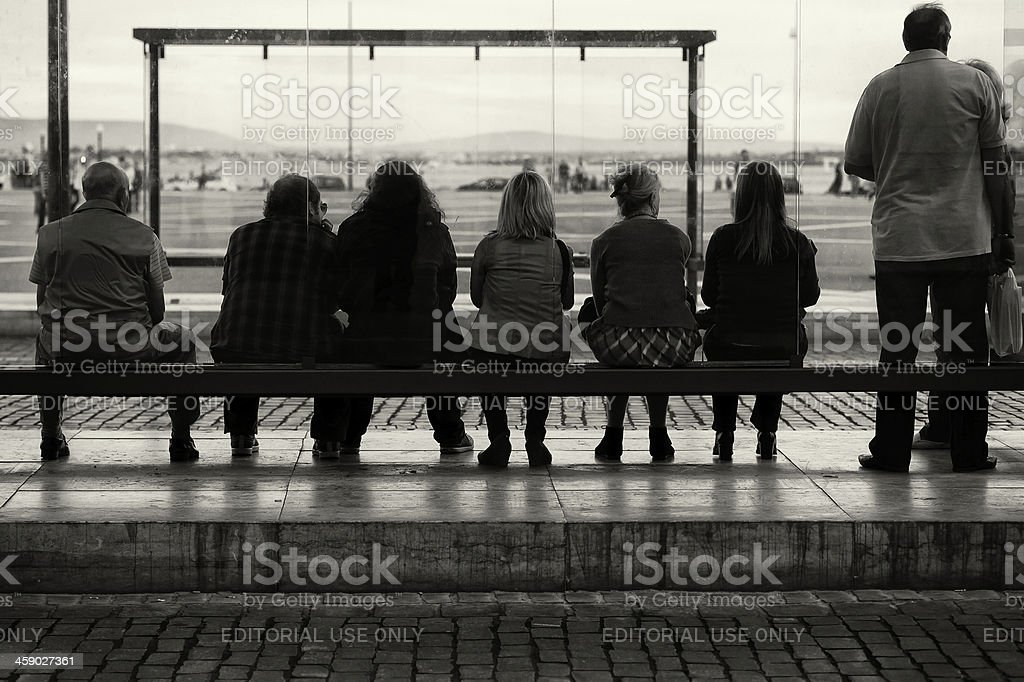 Waiting for the Bus in Lisbon royalty-free stock photo
