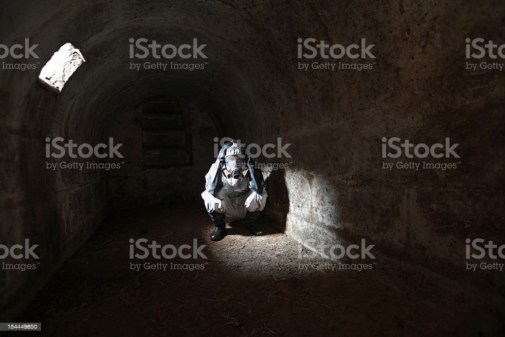 waiting for the end of  world in stone bunker stock photo