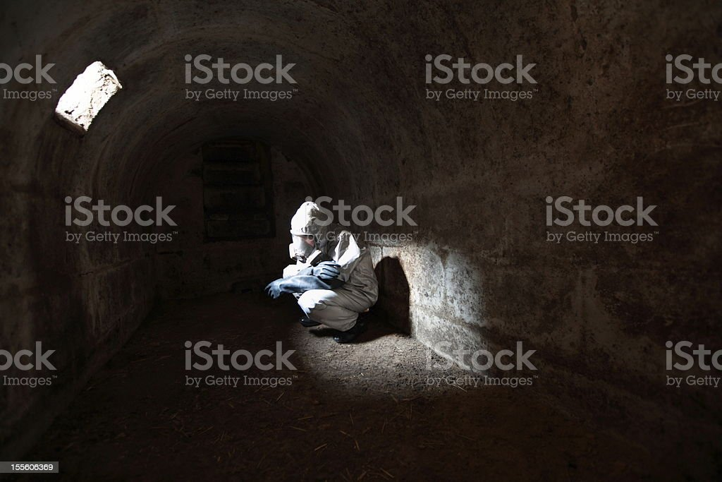 waiting for the end of  world in stone bunker royalty-free stock photo