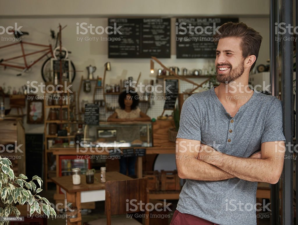 Waiting for the first customer of the day stock photo