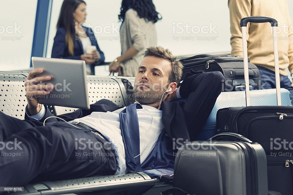 Waiting for the flight stock photo
