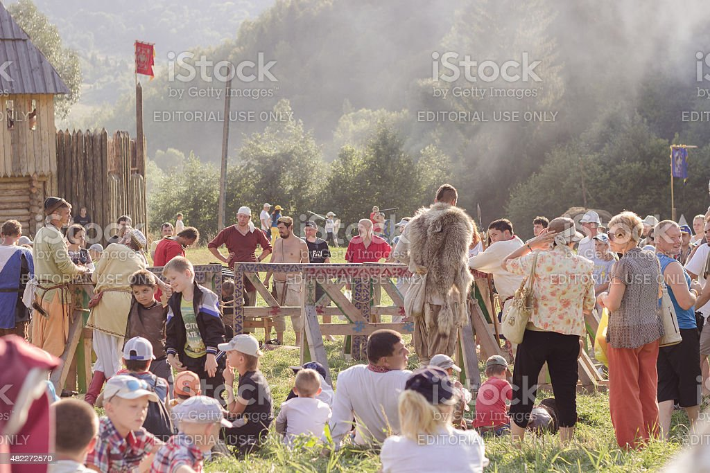 Waiting for the show at Tustan' festival in Urych, Ukraine stock photo