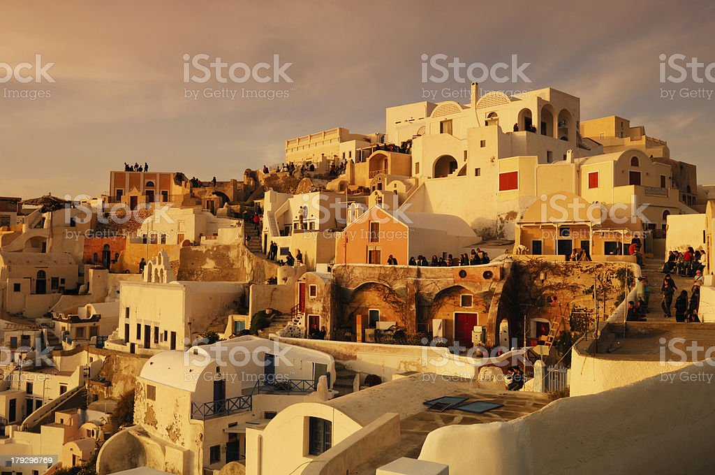 Waiting for the sunset in Oia royalty-free stock photo