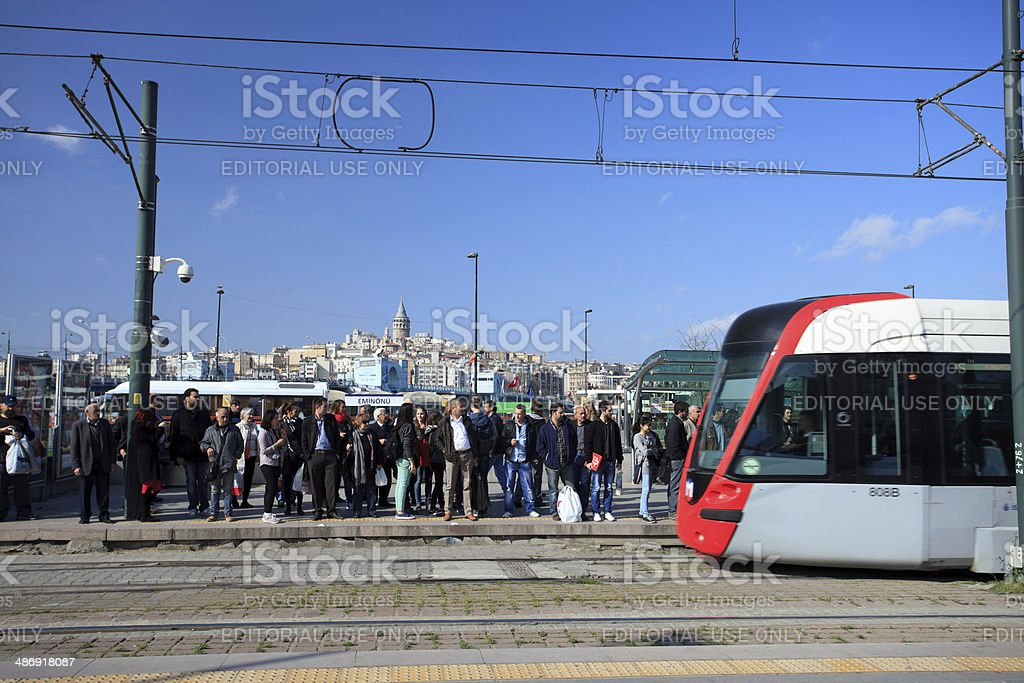 Waiting for the tram in Istanbul stock photo