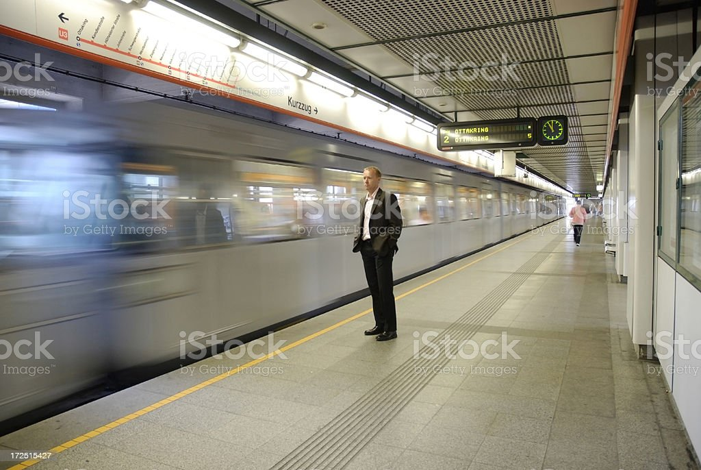 waiting for the underground royalty-free stock photo