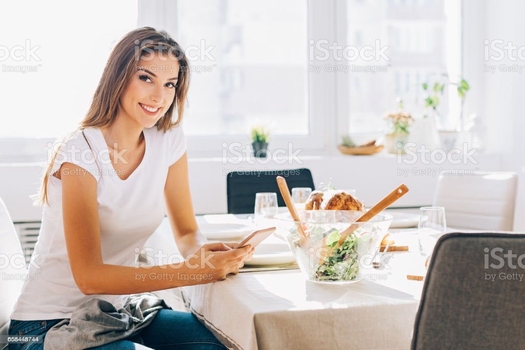Waiting for you for dinner stock photo