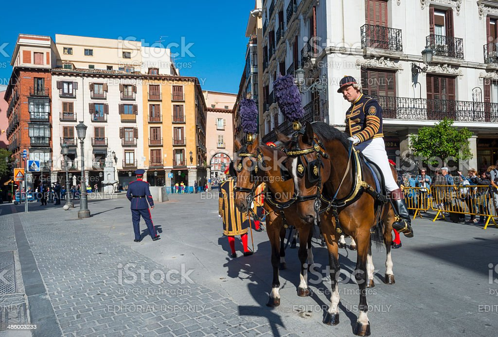 Waiting horses on a square in Madrid stock photo