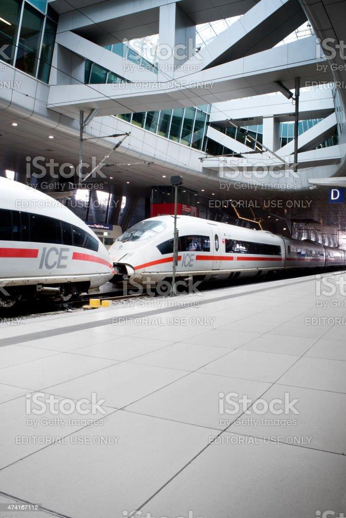 Waiting ICE train at Frankfurt International Airport stock photo