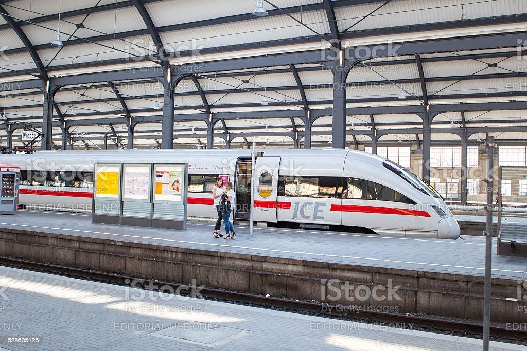 Waiting ICE train - female passengers stock photo