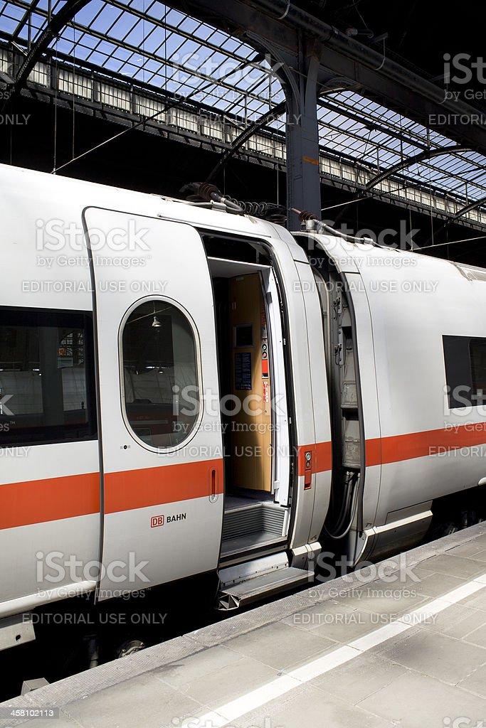 Waiting ICE train, open doors stock photo