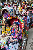 Waiting in a crowded cycle rickshaw traffic jam, Dhaka, Bangladesh