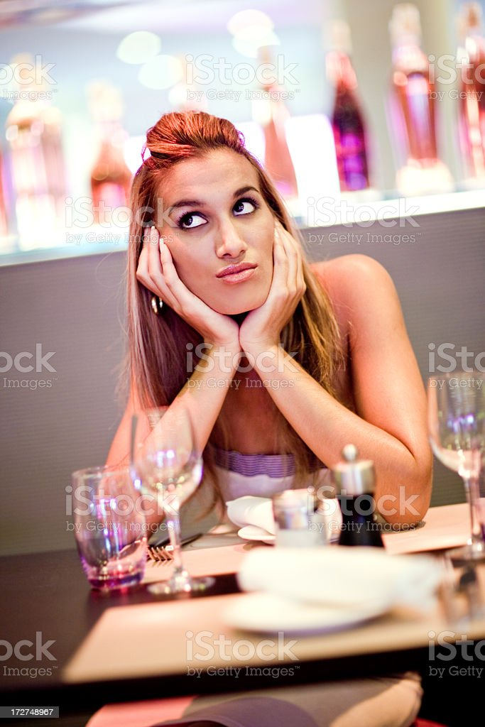 Waiting in a Restaurant royalty-free stock photo