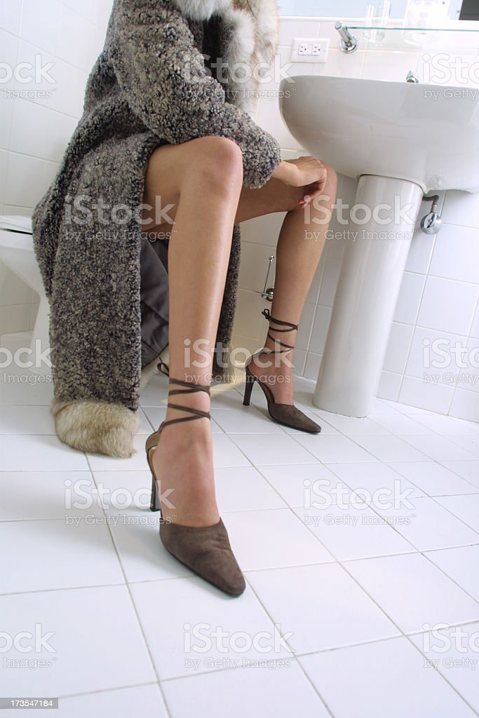 waiting in bathroom royalty-free stock photo
