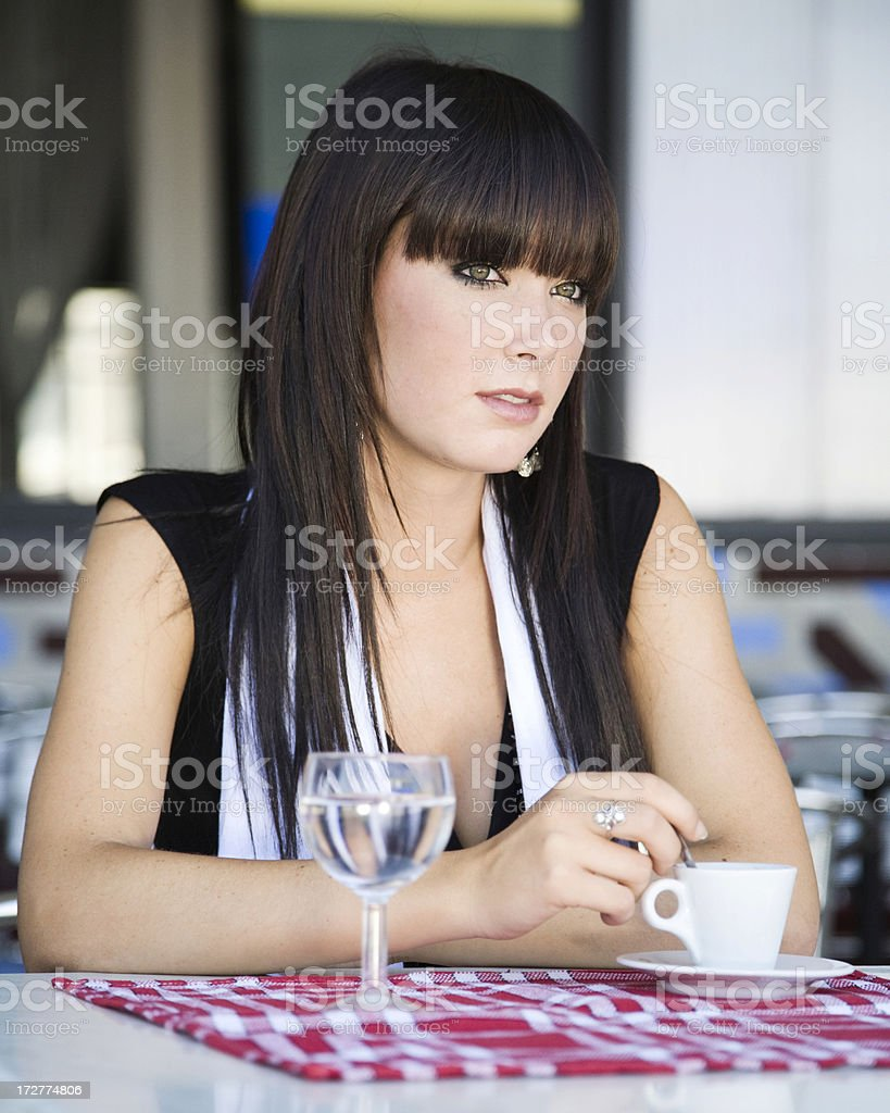 Waiting in cafe stock photo