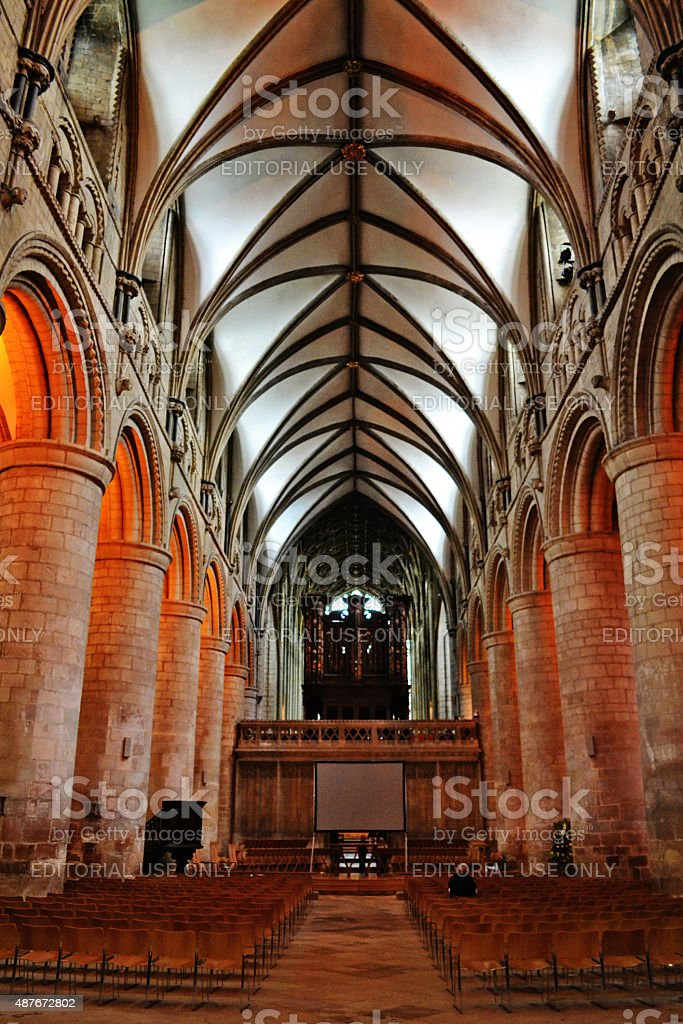 Waiting in Gloucester Cathedral stock photo