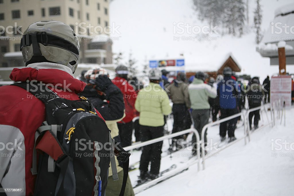 Waiting in Line at Chair Lift royalty-free stock photo