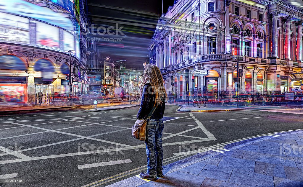 Waiting in Piccadilly Circus stock photo