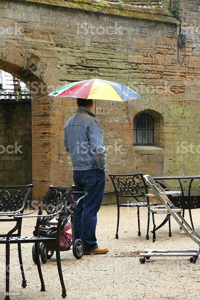 Waiting in the rain stock photo