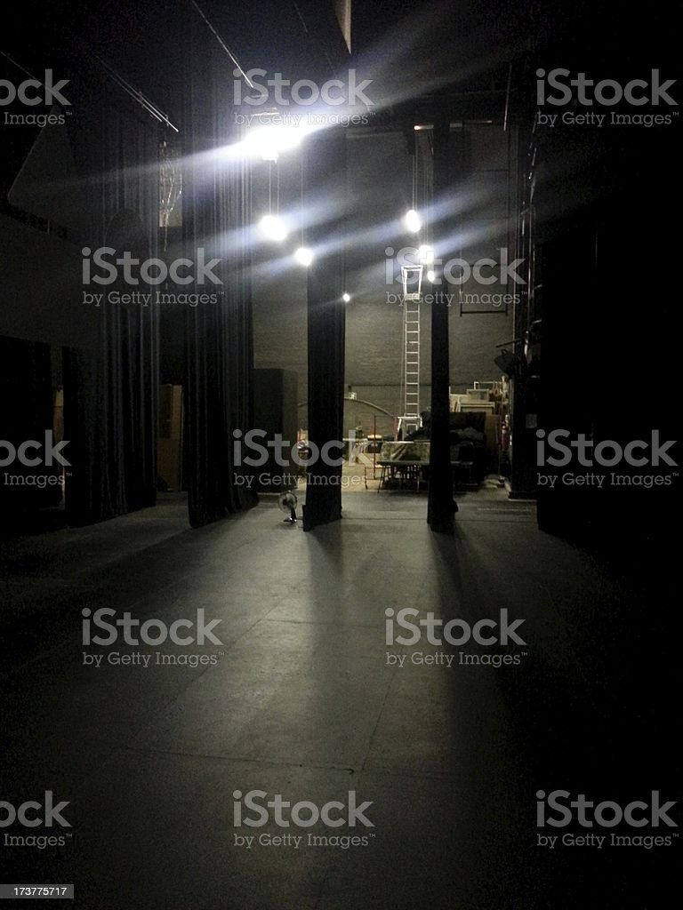 Waiting in the wings of a theatre stock photo