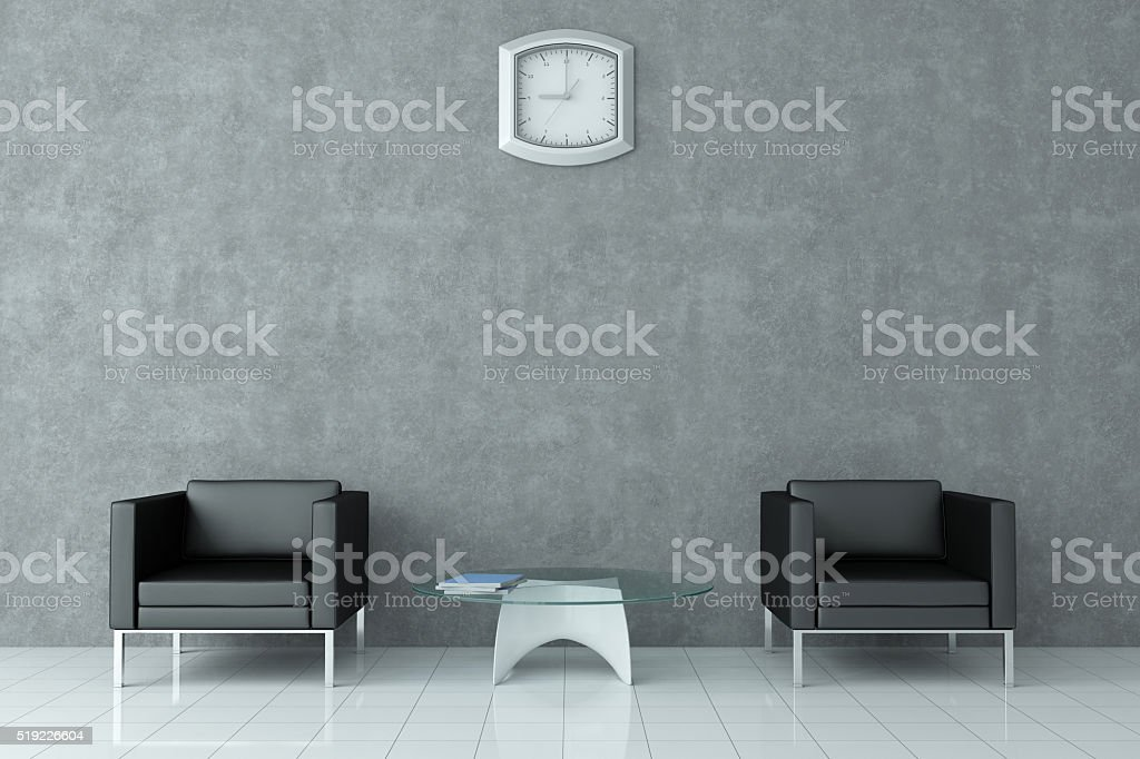 Waiting Lounge / Room Interior  With Blank Plastered Wall stock photo