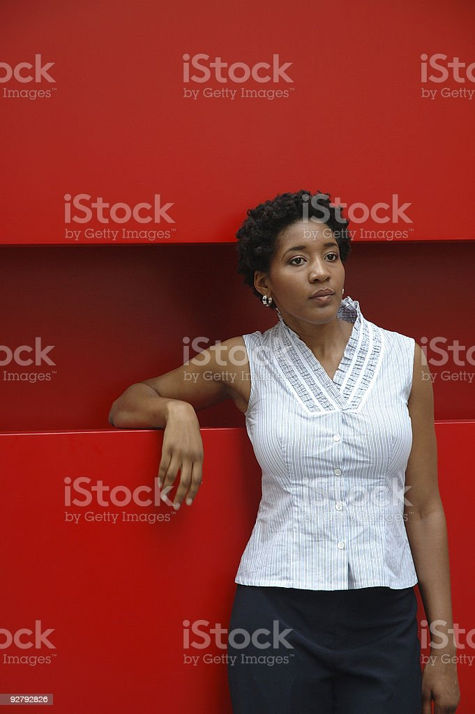 Waiting on Red Background royalty-free stock photo