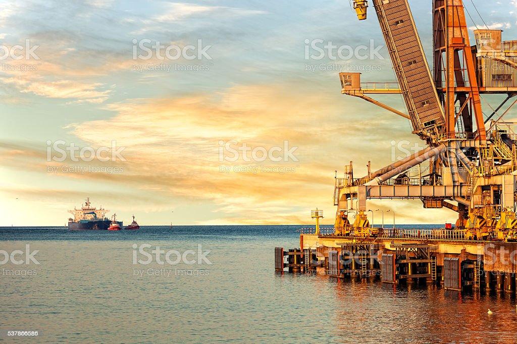 Waiting onto ship stock photo