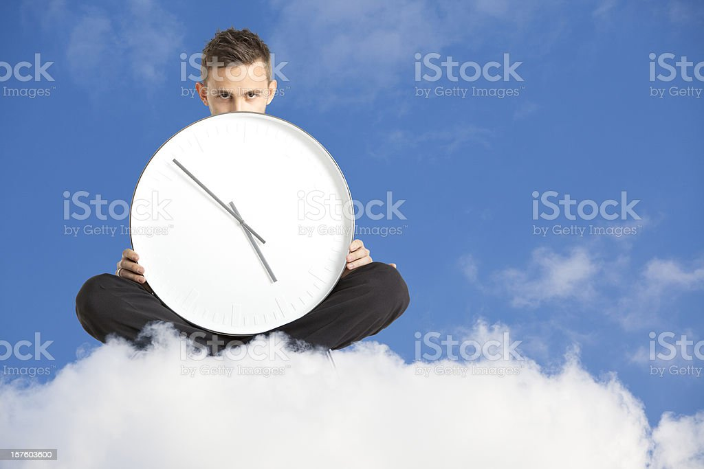 Waiting over a cloud royalty-free stock photo
