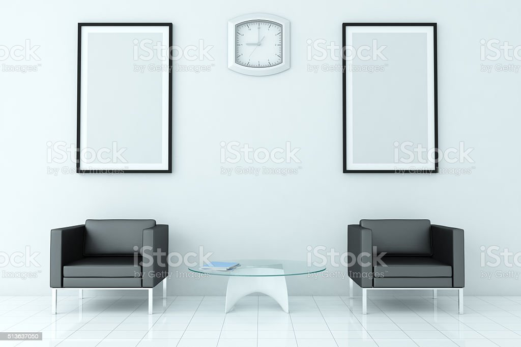 Waiting Room / Area Interior  With Blank Frames stock photo