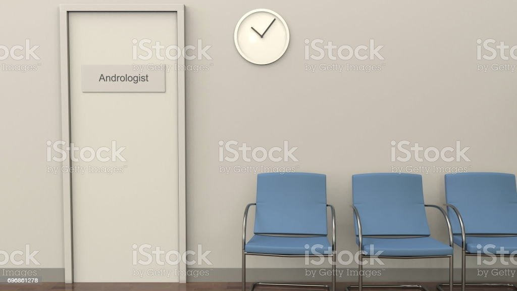 Waiting room at andrologist office. Medical practice concept. 3D rendering stock photo