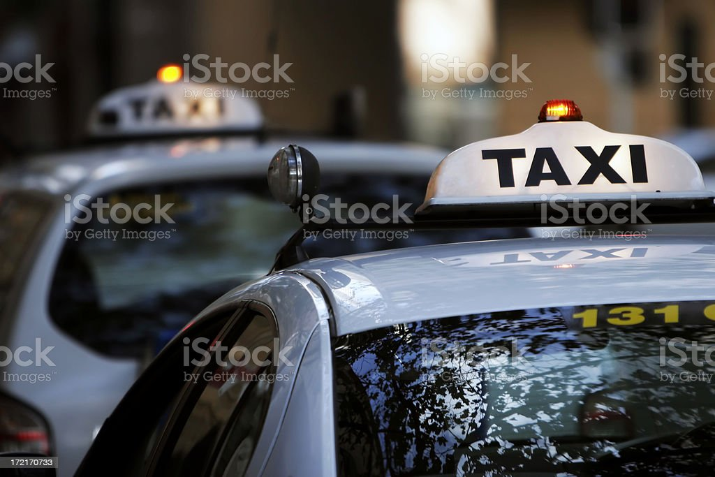 Waiting Taxis royalty-free stock photo