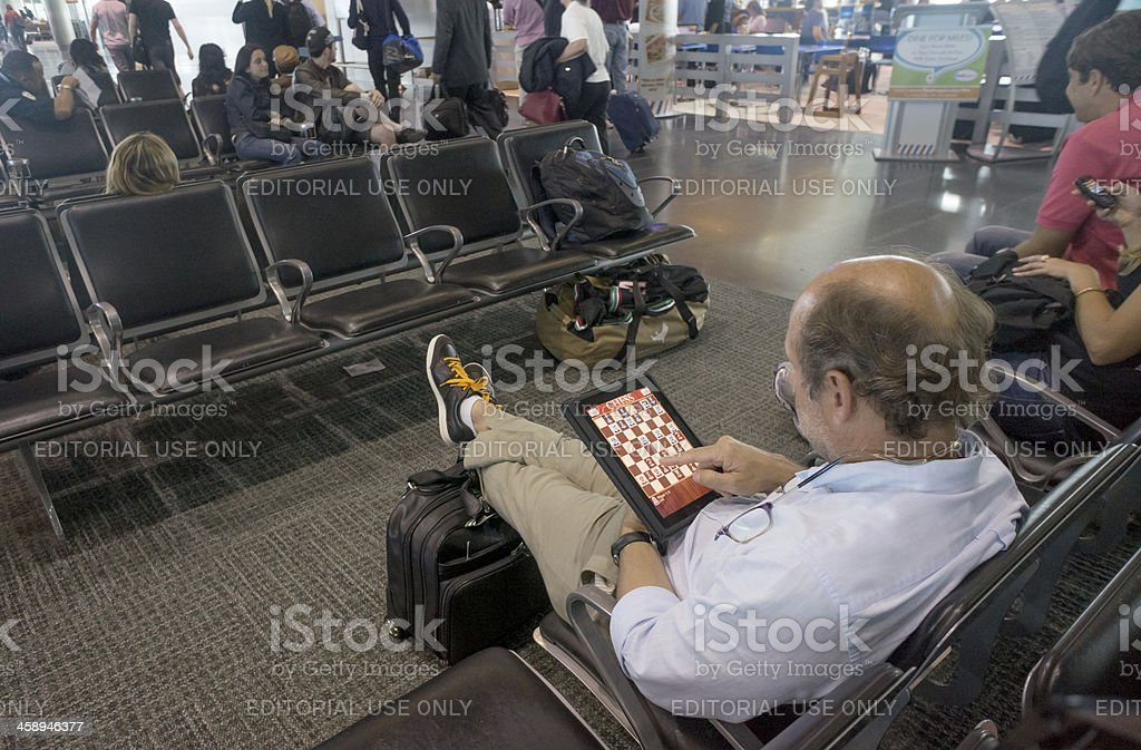 Waiting the boarding time at airport lounge royalty-free stock photo
