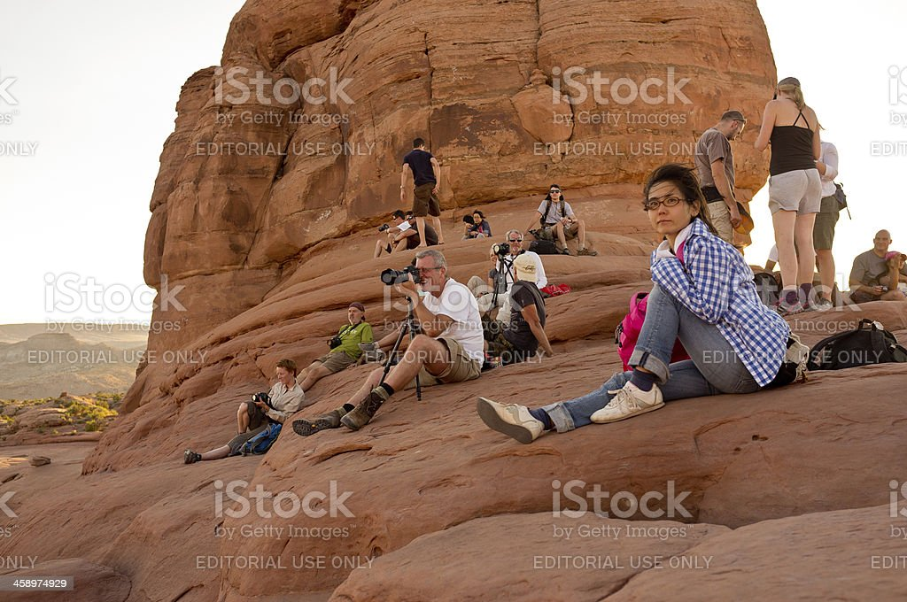 Waiting to photograph Delicate Arch in Utah stock photo
