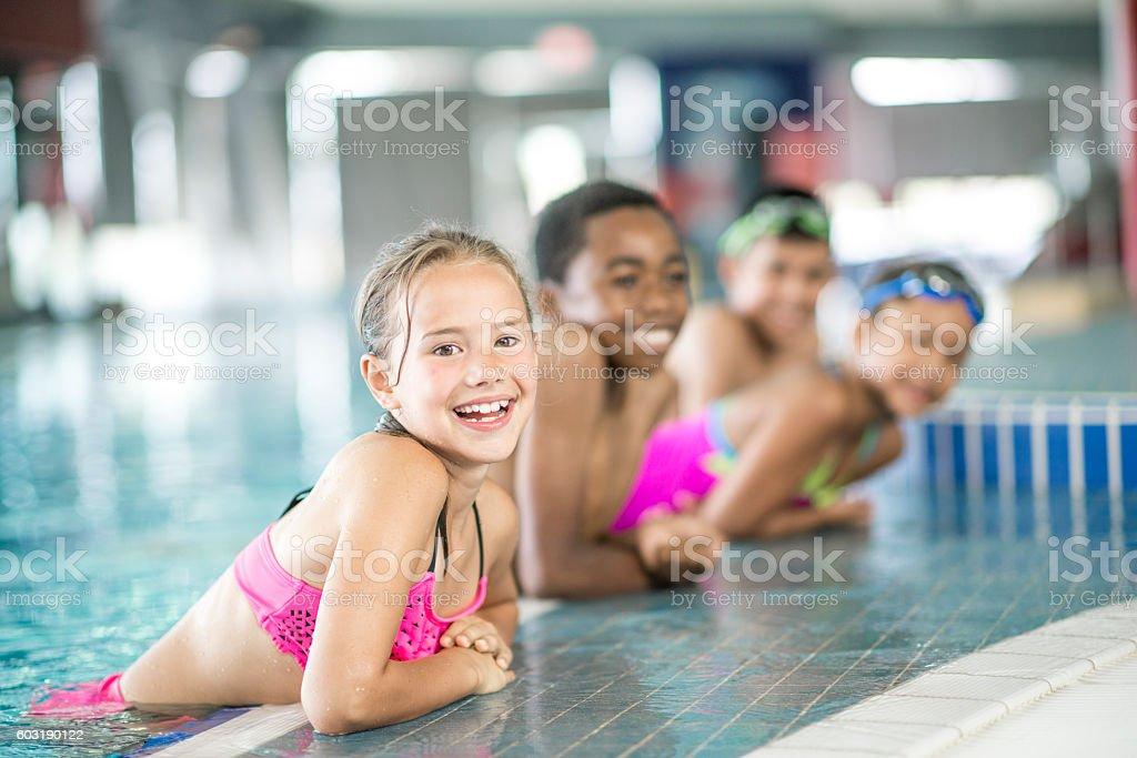 Waiting to Push Off and Swim stock photo