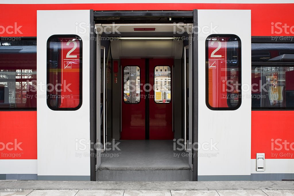 Waiting train - doors open royalty-free stock photo
