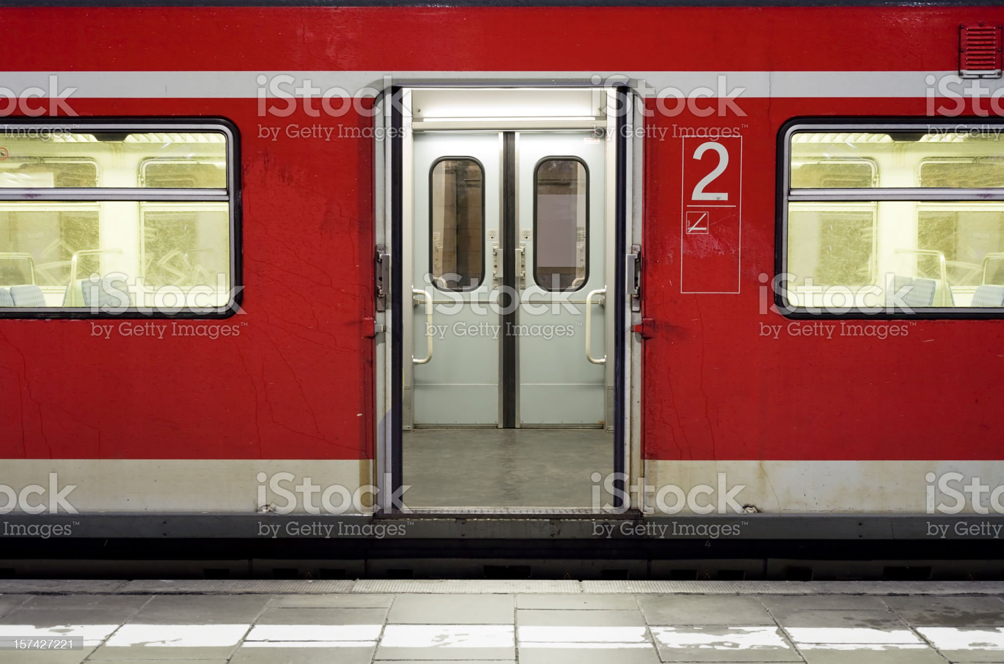 Waiting train with doors open royalty-free stock photo