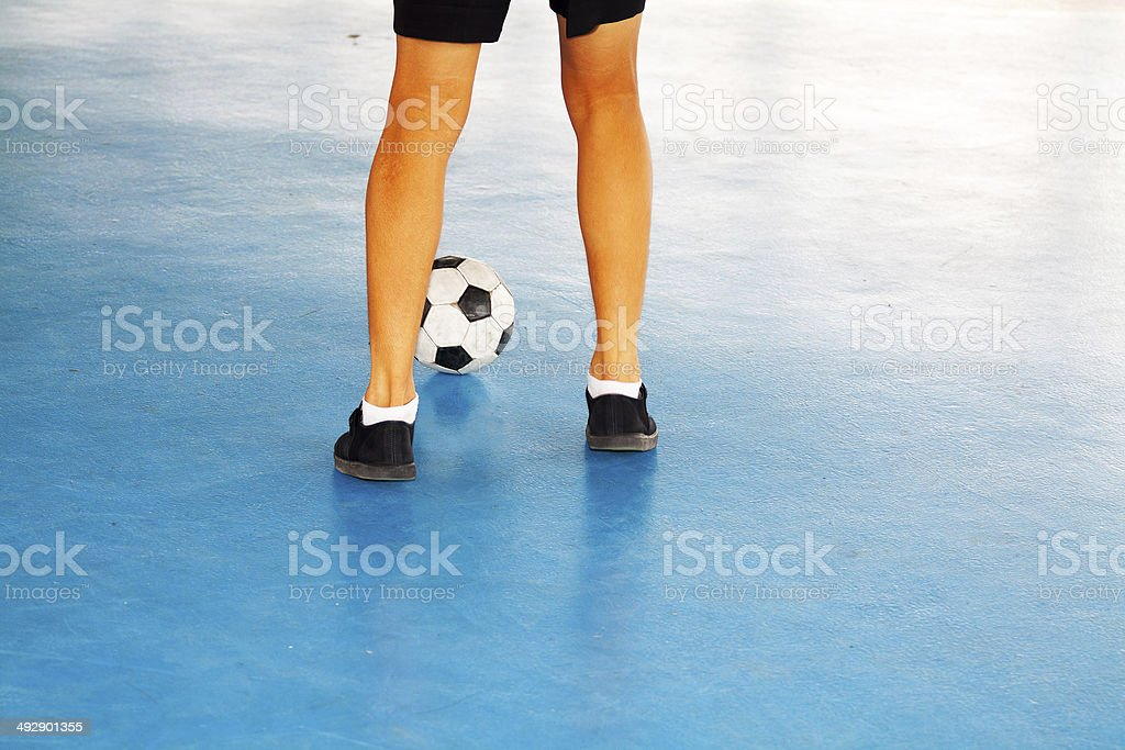 Waiting with football stock photo