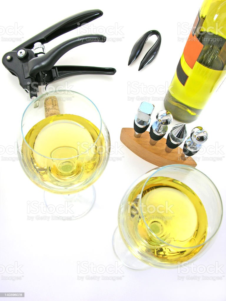 Waiting you with White Wine stock photo