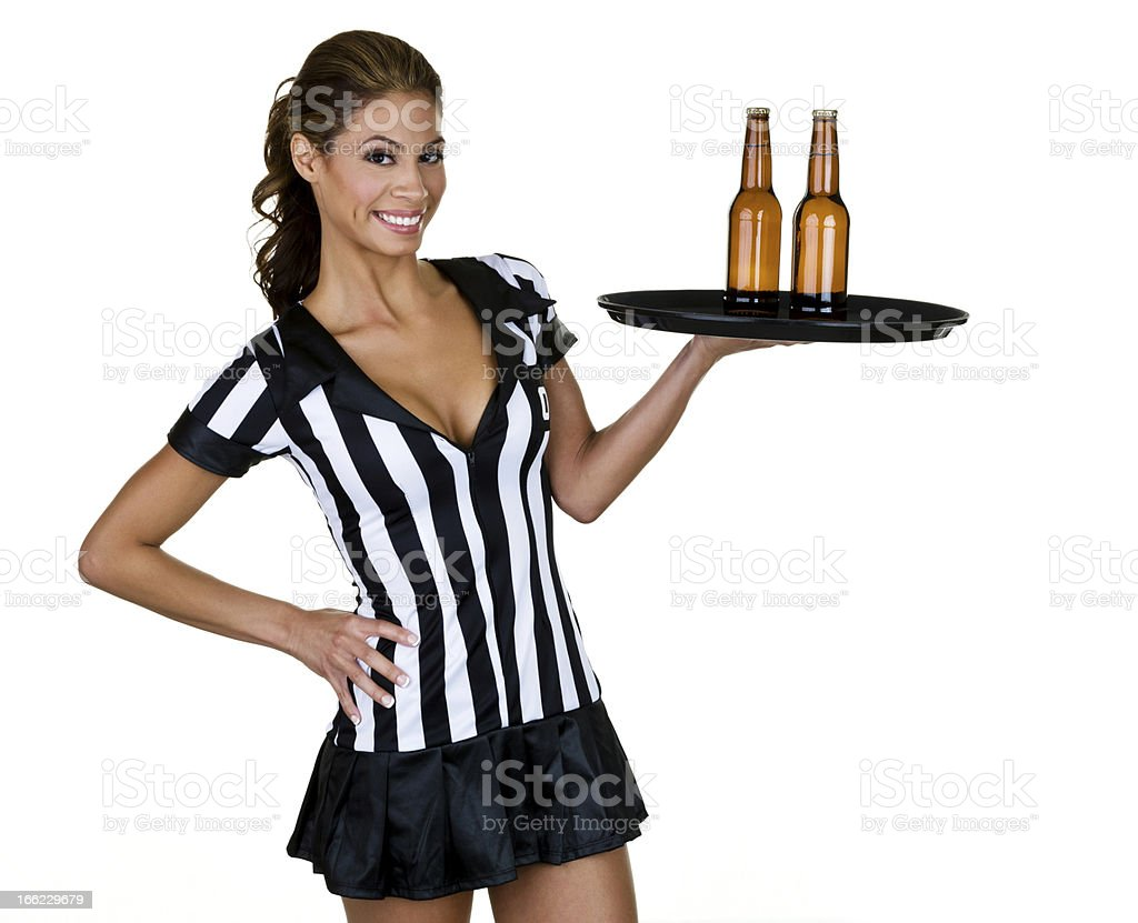 Waitress dressed as a referee royalty-free stock photo